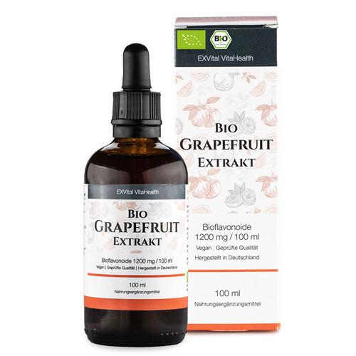 Bio Grapefruitkernextrakt Tropfen von EXVital mit 1200 mg Bioflavonoide